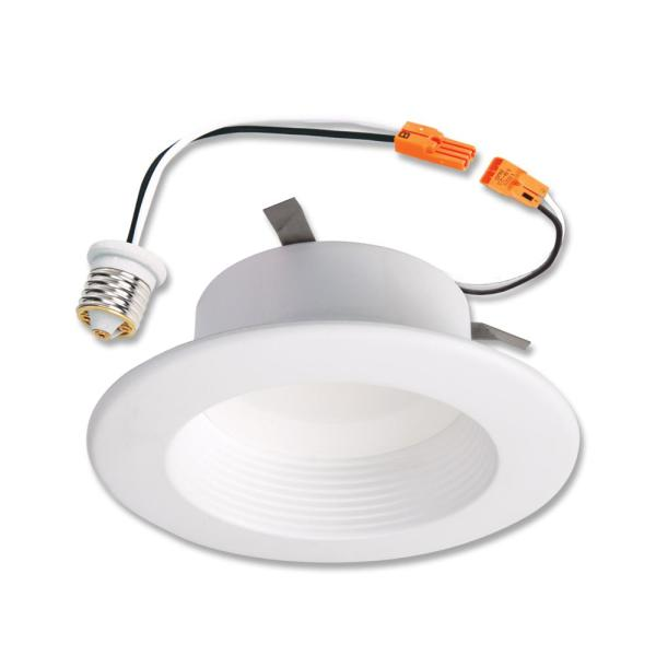 Halo Rl 4 In 3000k Integrated Led Retrofit White Recessed Ceiling Light Fixture Baffle Trim With 90 Cri Soft White Rl460wh930 The Home Depot