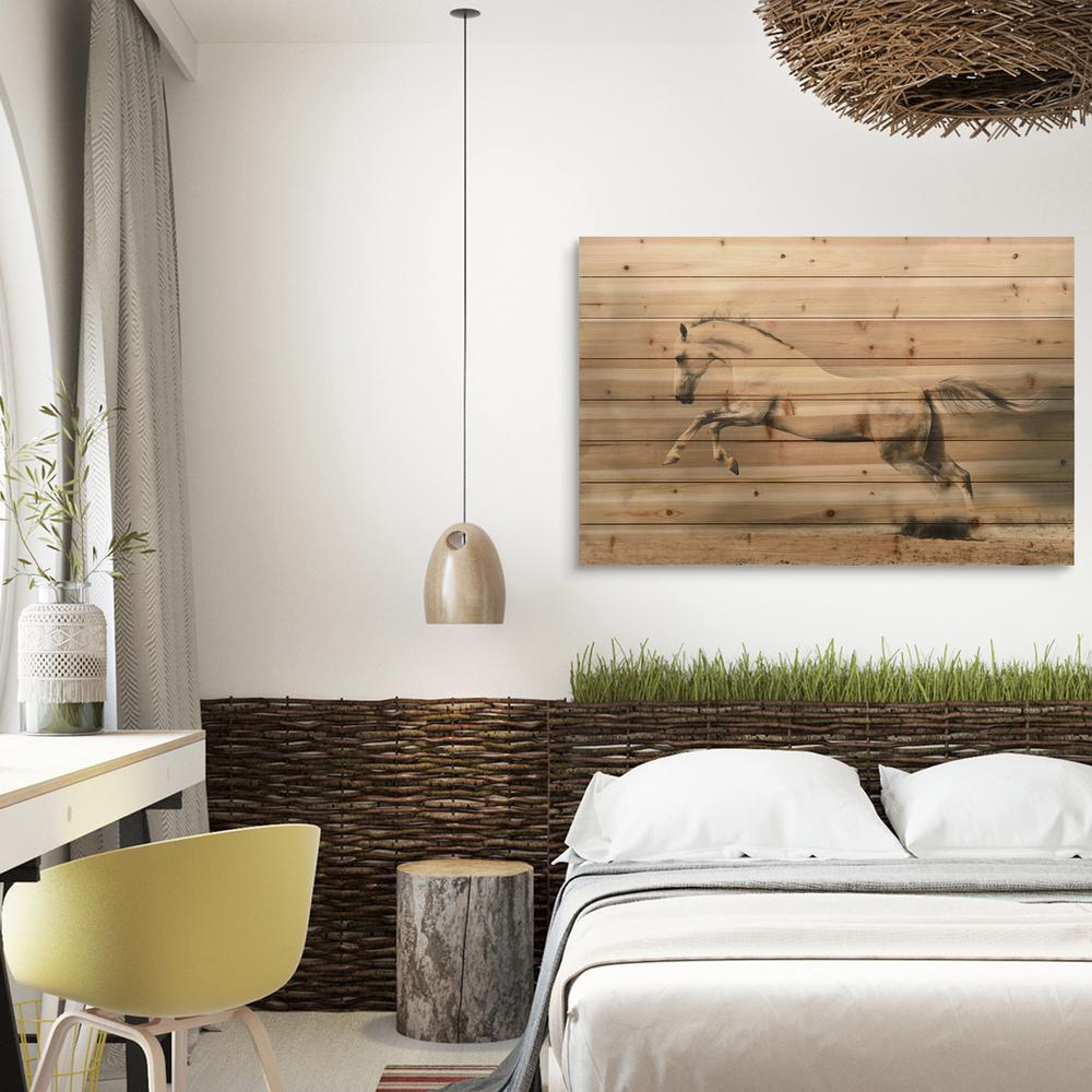 """30 in. x 45 in. """"Horse"""" Arte de Legno Digital Print on Solid Wood Wall Art"""