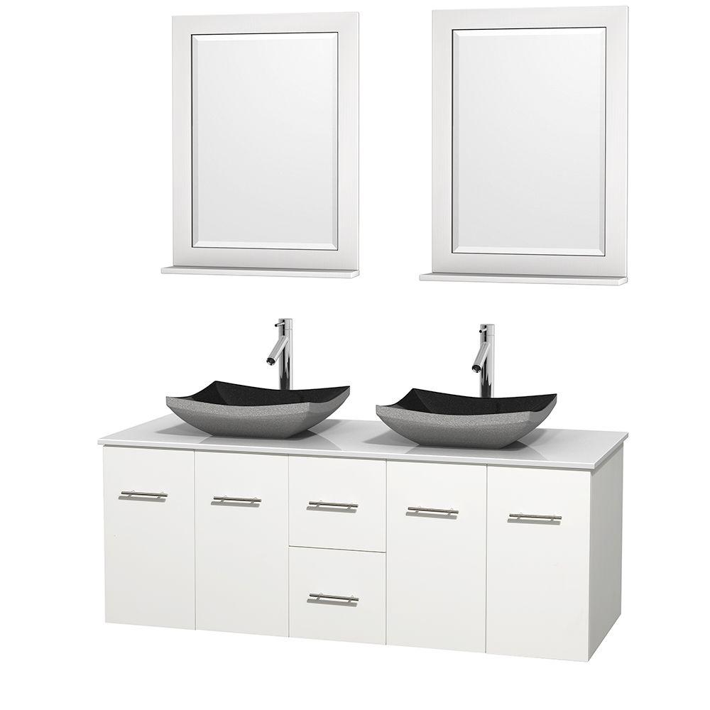 Wyndham Collection Centra 60 in. Double Vanity in White with Solid-Surface Vanity Top in White, Black Granite Sinks and 24 in. Mirrors