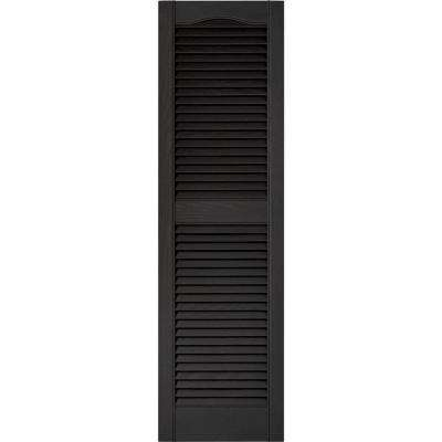 15 in. x 52 in. Louvered Vinyl Exterior Shutters Pair in #002 Black