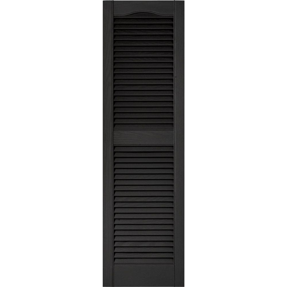 Builders Edge 15 In X 52 In Louvered Vinyl Exterior Shutters Pair In 002 Black 010140052002 The Home Depot