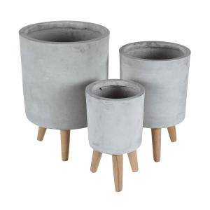 Large: 17 in., Medium: 15 in., Small: 12 in. Light Gray Fiber Wood Planters (3-Pack)
