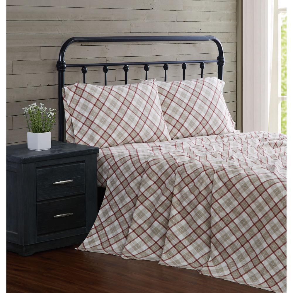 Tan Plaid Cotton Flannel 3 Piece Twin Sheet Set
