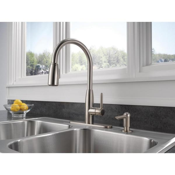 Peerless Apex Integrated Single Handle Pull Down Sprayer Kitchen Faucet With Soap Dispenser In Stainless P188103lf Sssd The Home Depot