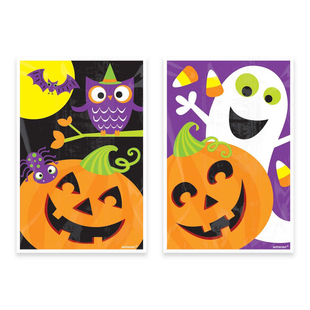 6 in. x 4 in. Halloween Plastic Treat Bag Assortment (80-Count,