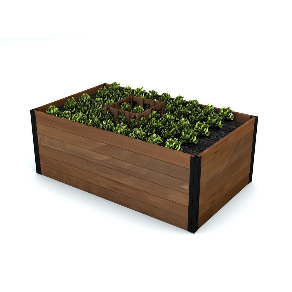 Mezza 60 in. x 36 in. x 22 in. Golden Brown Wood Raised Composting Garden
