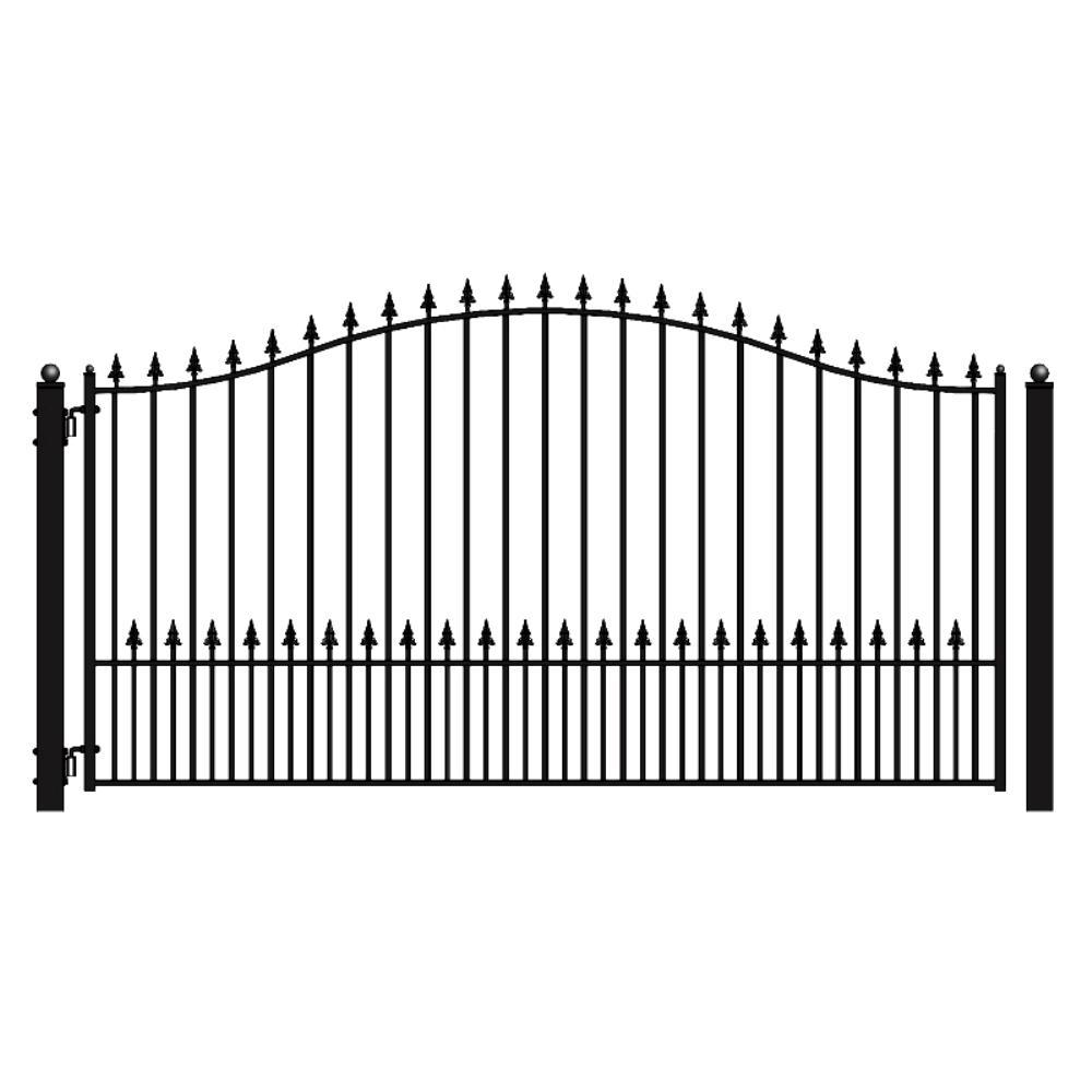 ALEKO Munich Style 18 ft. x 6 ft. Black Steel Single Swing Driveway Fence Gate