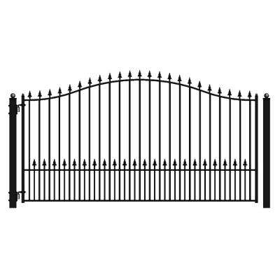 Munich Style 18 ft. x 6 ft. Black Steel Single Swing Driveway Fence Gate