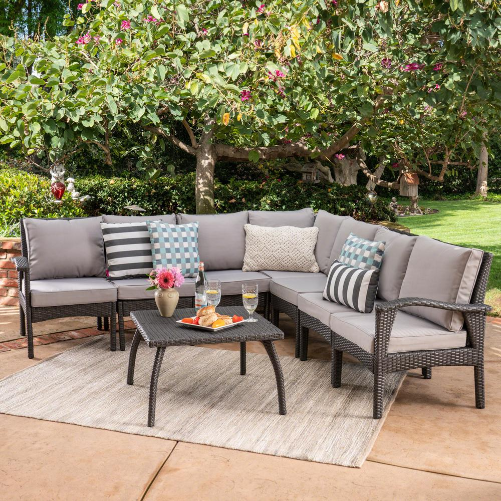 Le House Honolulu Gray 8 Piece Wicker Patio Sectional Seating Set