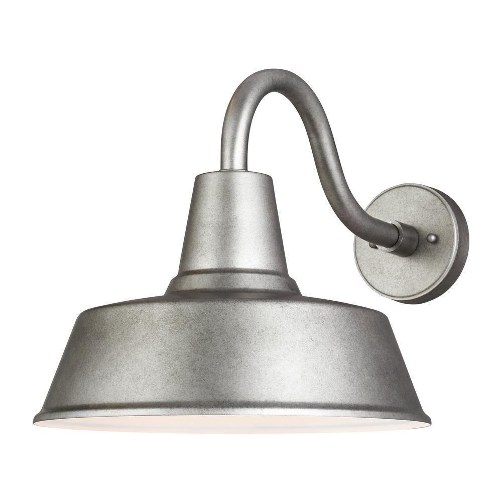 Sea Gull Lighting Barn Light 1-Light Weathered Pewter Outdoor Wall Mount Lantern Sconce