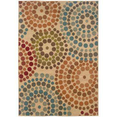 Spiral Mosaic Tan 8 ft. x 10 ft. Area Rug