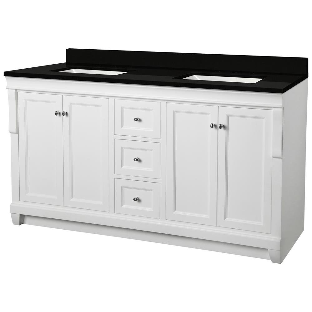 Home Decorators Collection Naples 61 in. W x 22 in. D Bath Vanity in White with Granite Vanity Top in Midnight Black with Trough White Basin was $1599.0 now $959.4 (40.0% off)