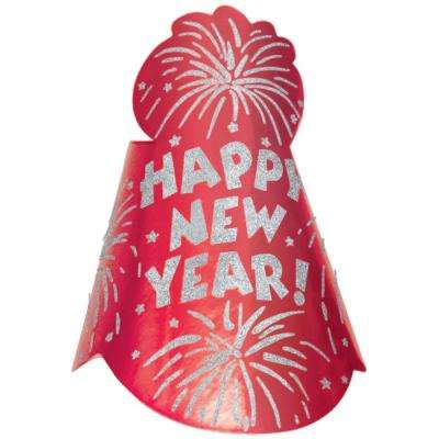 New Year's 9 in. Red Glitter Foil Cone Hat (12-Pack)