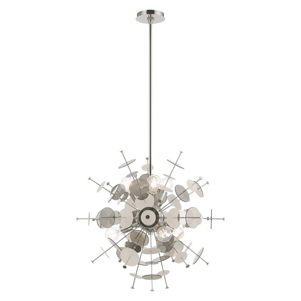 Circulo 6-Light Polished Chrome Starburst Pendant Chandelier
