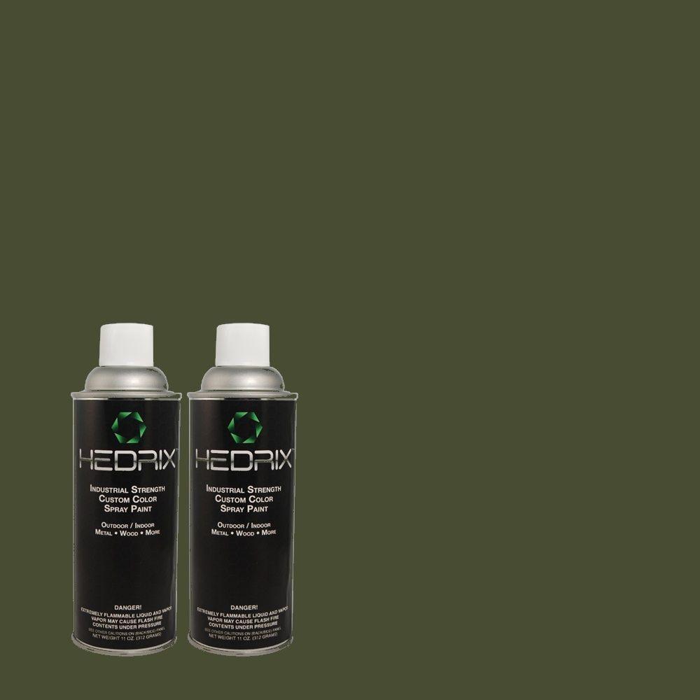 Hedrix 11 oz. Match of ECC-45-3 Conifer Semi-Gloss Custom Spray Paint (2-Pack)