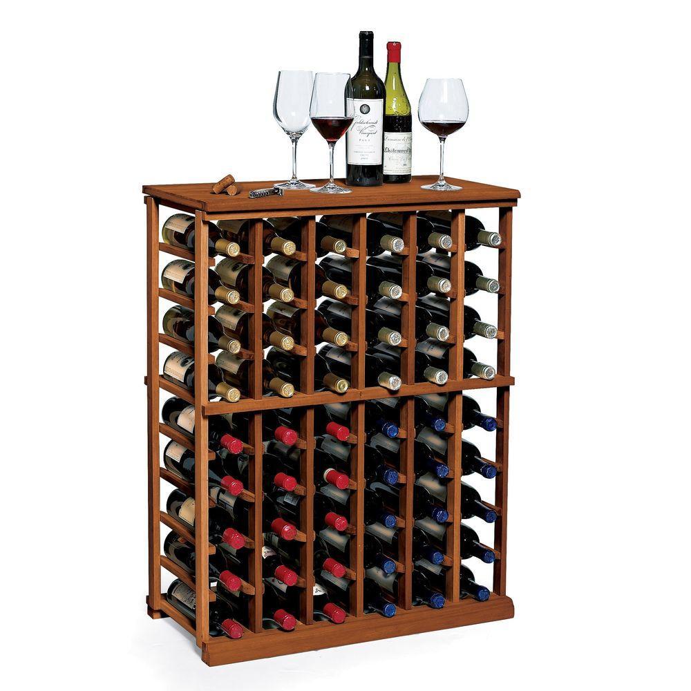 N'Finity 60-Bottle Walnut Floor Wine Rack