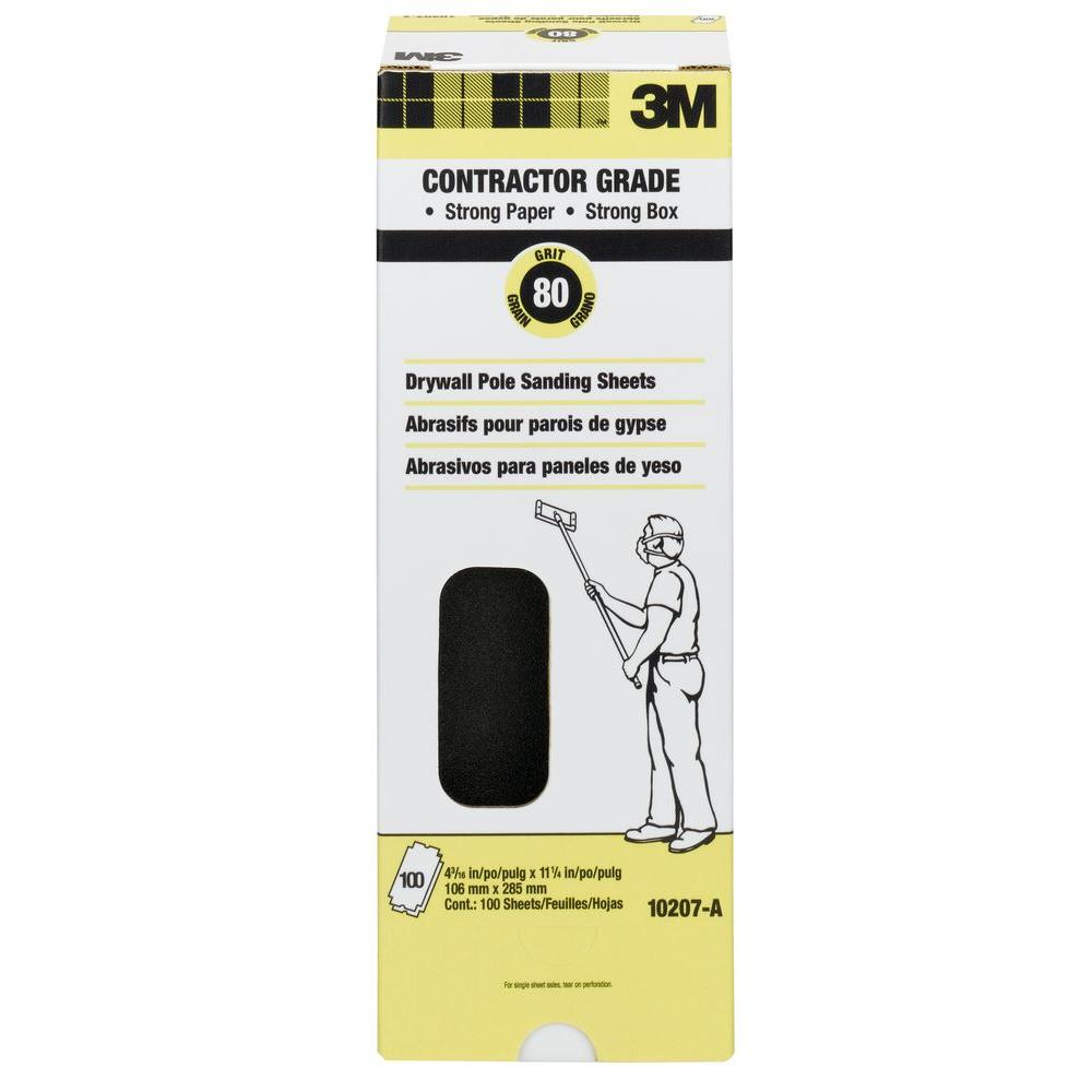 4-3/16 in. x 11-1/4 in. 80 Grit Coarse Drywall Sanding Sheets