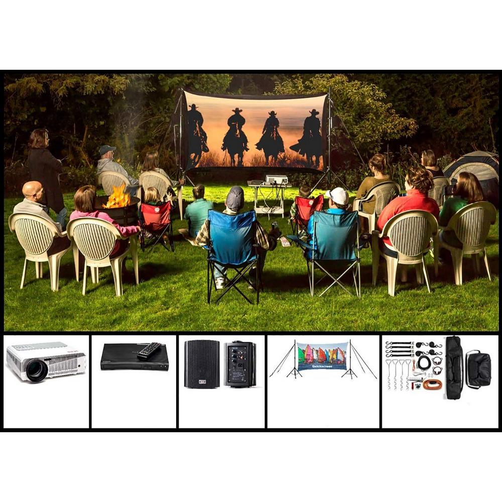 Recreation 9 ft. Backyard Theater System The Recreation Series is the centerpiece that can carry off any backyard or outdoor event. This portable, storable and affordable system is guaranteed to deliver a flawless outdoor production. With the versatility of both front and rear projection the entertaining options are truly limitless.