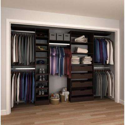 15 in. D x 180 in. W x 84 in. H Melamine Reach-In Closet System Kit in Mocha