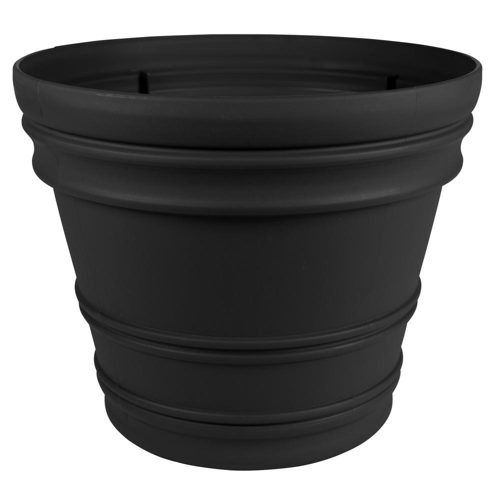 22 x 19.5 Black Rolled Rim Plastic Planter