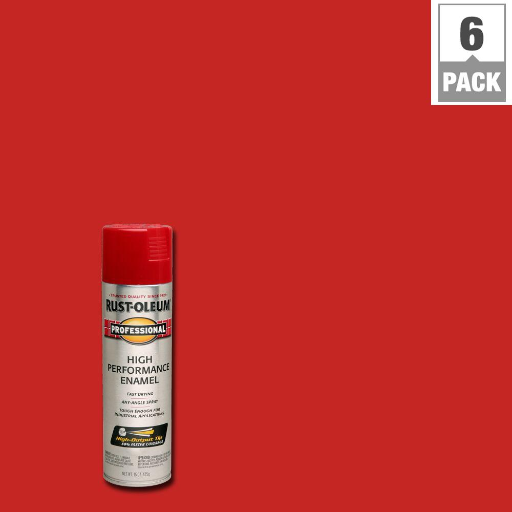 Rust Oleum Professional 15 Oz High Performance Enamel Gloss Safety Red Spray Paint