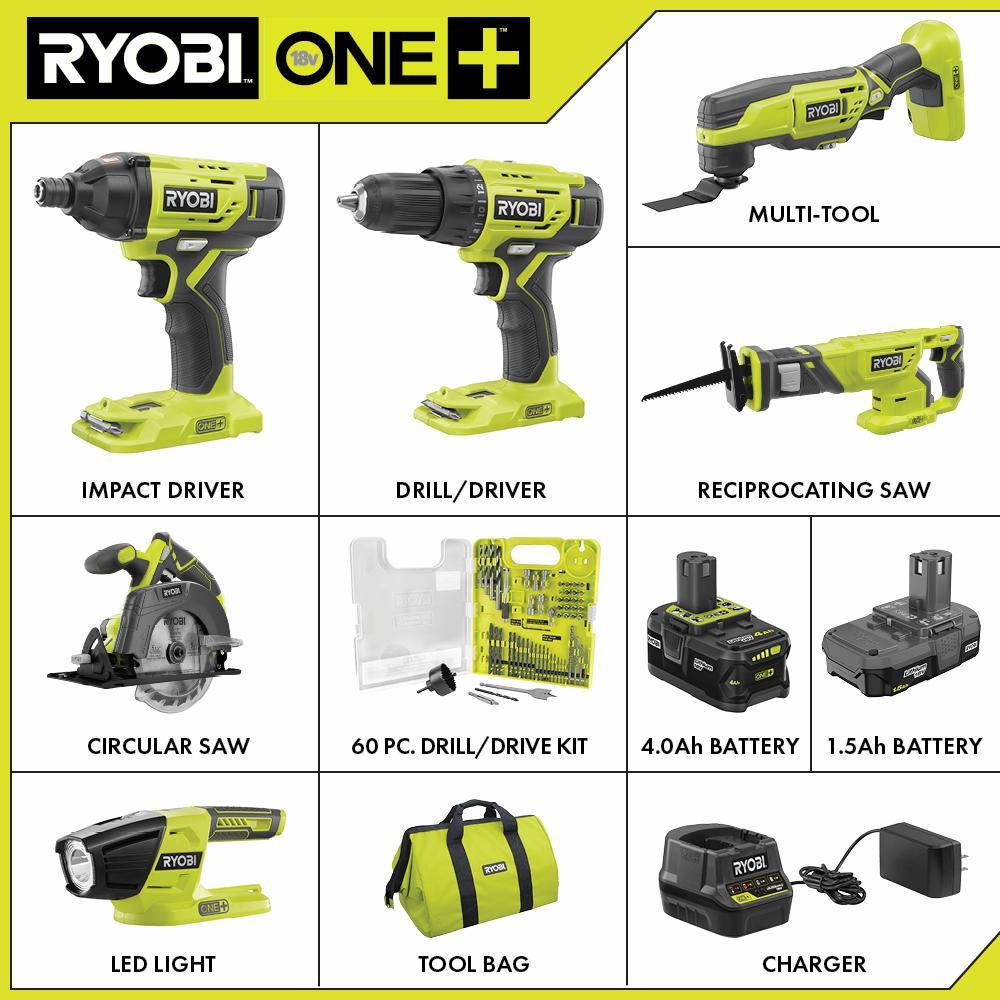 18-Volt ONE+ Cordless 6-Tool Combo Kit w/ (2) Batteries, Charger & Bag w/ BONUS Drill & Drive Kit (60-Piece)