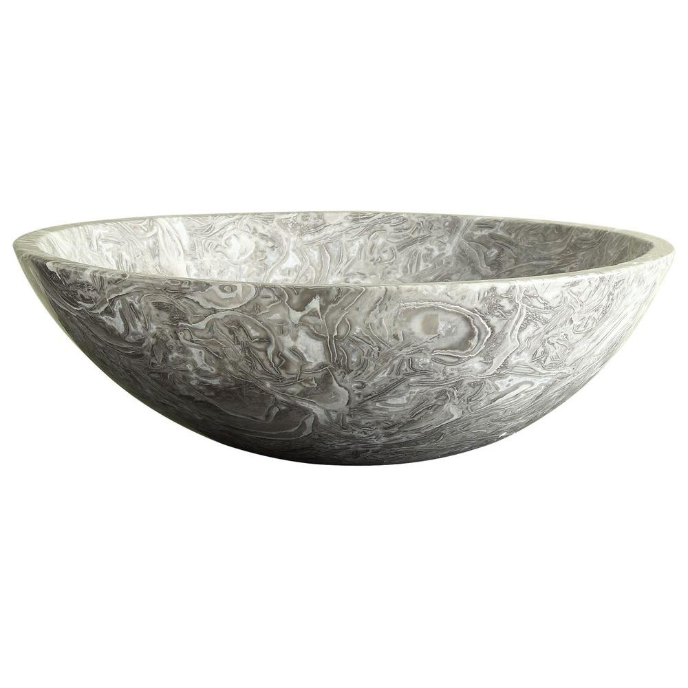 RYVYR Stone 17 in. Round Vessel Sink in Overlord Gray