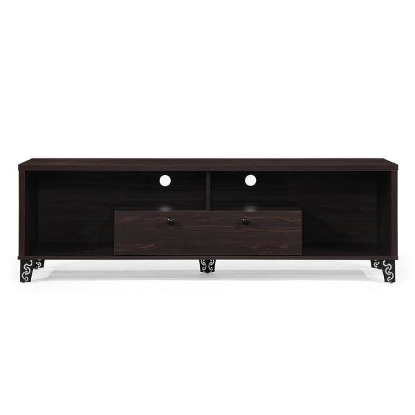 Noble House Walnut Brown Wood and Iron TV Console with Shelves