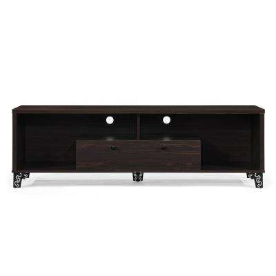 Walnut Brown Wood and Iron TV Console with Shelves