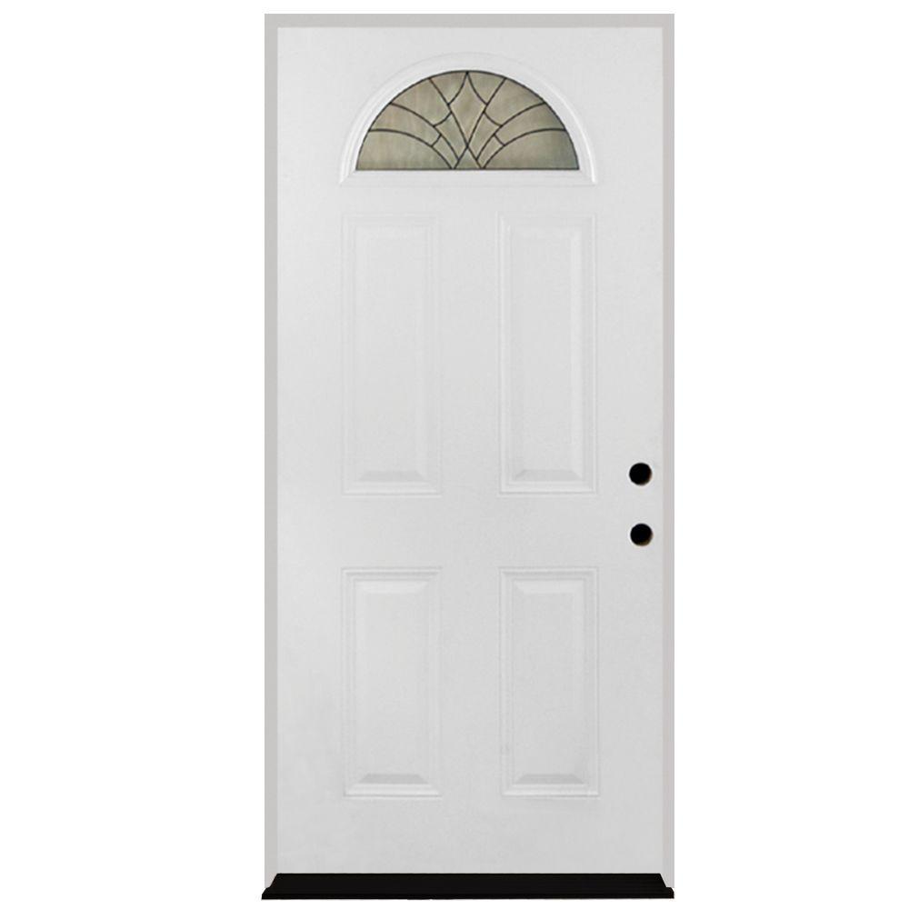 Steves & Sons 32 in. x 80 in. Webville Fan Lite Primed White Steel Prehung Front Door