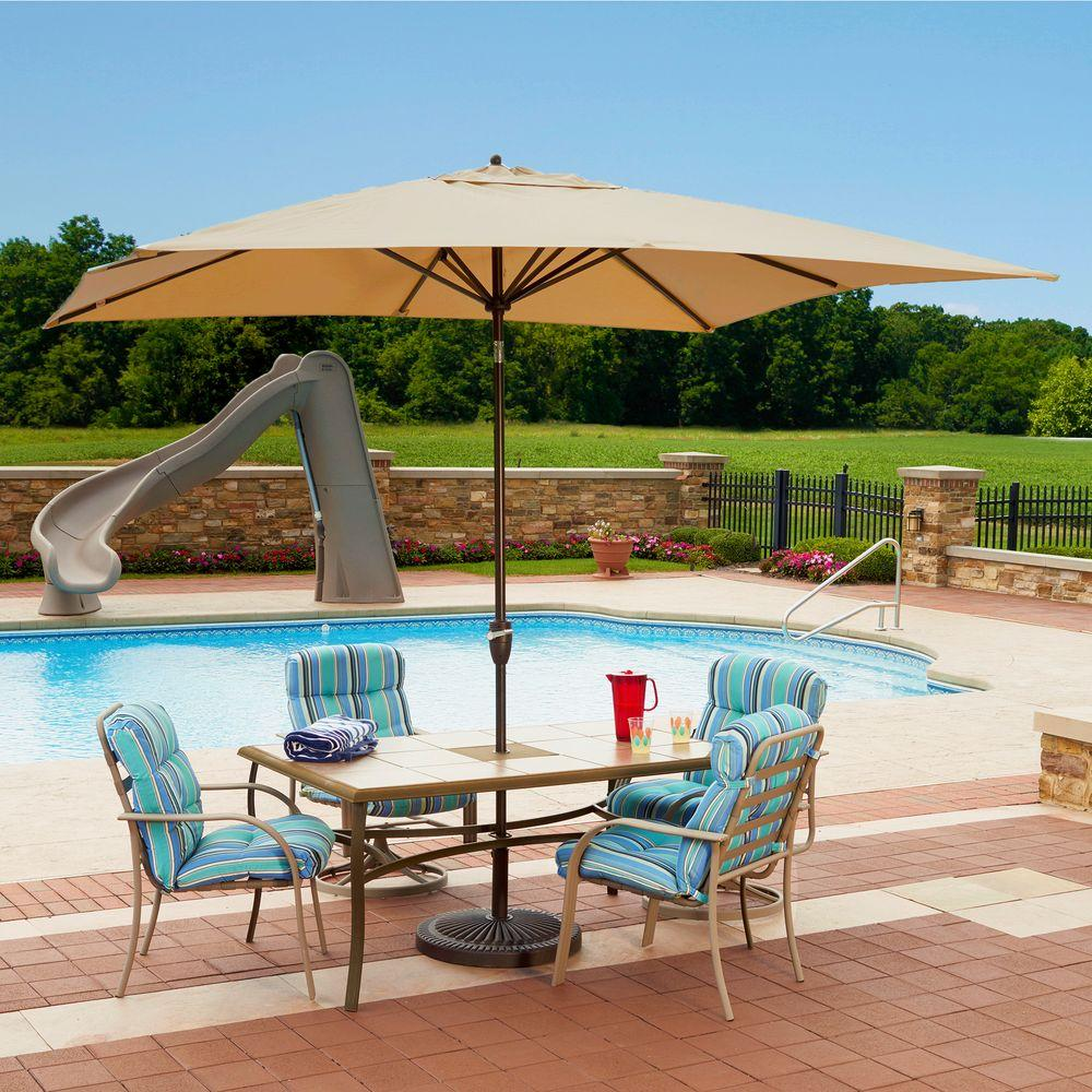 Island umbrella caspian 8 ft x 10 ft rectangular market for Patio table umbrella 6 foot