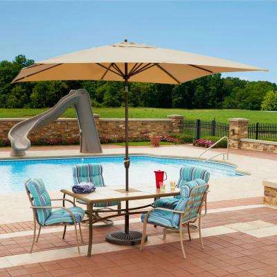 Caspian 8 ft. x 10 ft. Rectangular Market Push-Button Tilt Patio Umbrella in Beige Sunbrella Acrylic