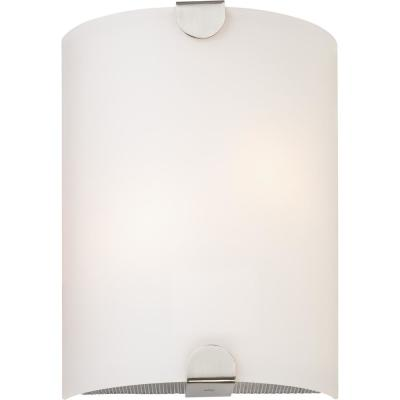 12 in. L x 9 in. W x 3.75 in. D. Brushed Nickel 1-Light Integrated Indoor LED Wall Sconce with Glass Half Cylinder Shade
