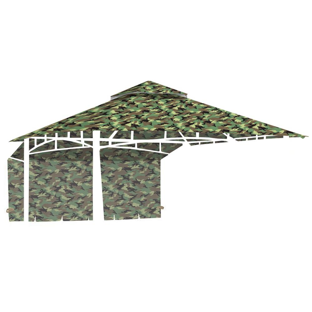Standard 350 Camo Green Replacement Canopy for 10 ft. x 10 ft. Garden House with Awning