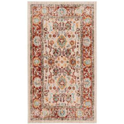 Sutton Ivory/Brick 3 ft. x 5 ft. Area Rug
