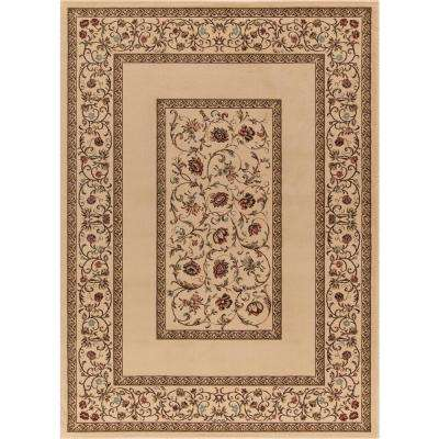 Ankara Floral Border Ivory 5 ft. x 7 ft. Area Rug