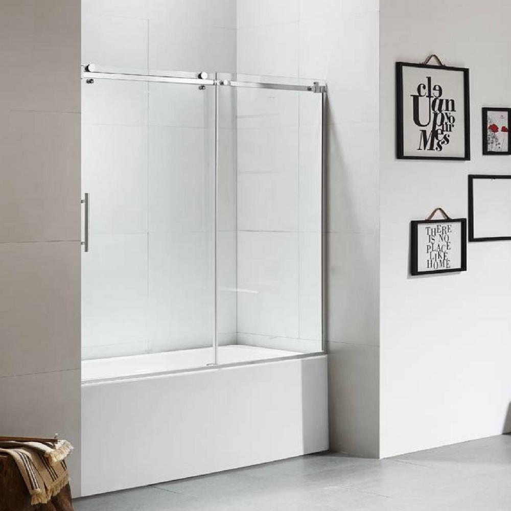 60 in. x 60 in. Luxury Frameless Sliding Shower door in Stainless Steel