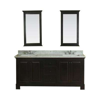 Richmond 72 in. W x 22 in. D Vanity in Espresso with Marble Vanity Top in White with White Basin and Mirror