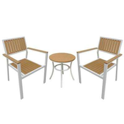White 3-Piece Metal Frame Resin Slats in Wood Patio Conversation Set