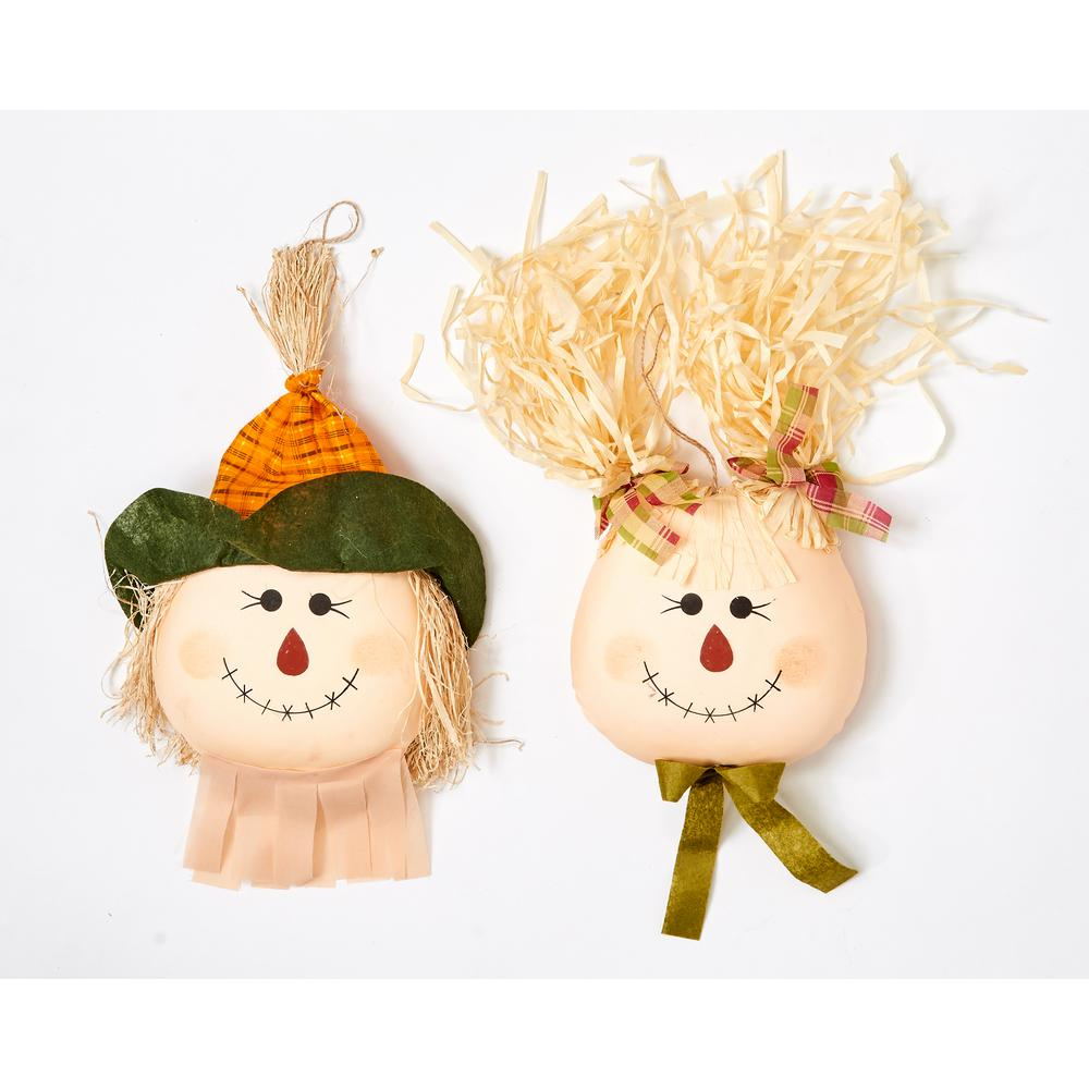 Unbranded 19 In Hanging Scarecrow Face Set Of 2 2230 The Home Depot