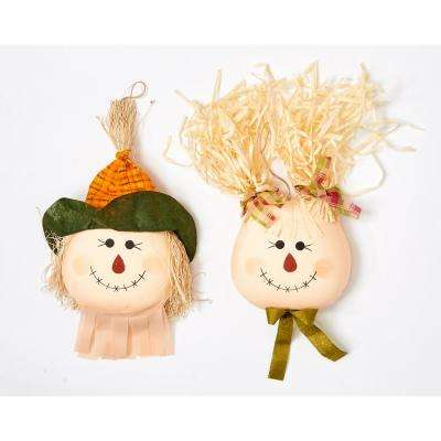 19 in. Hanging Scarecrow Face (Set of 2)