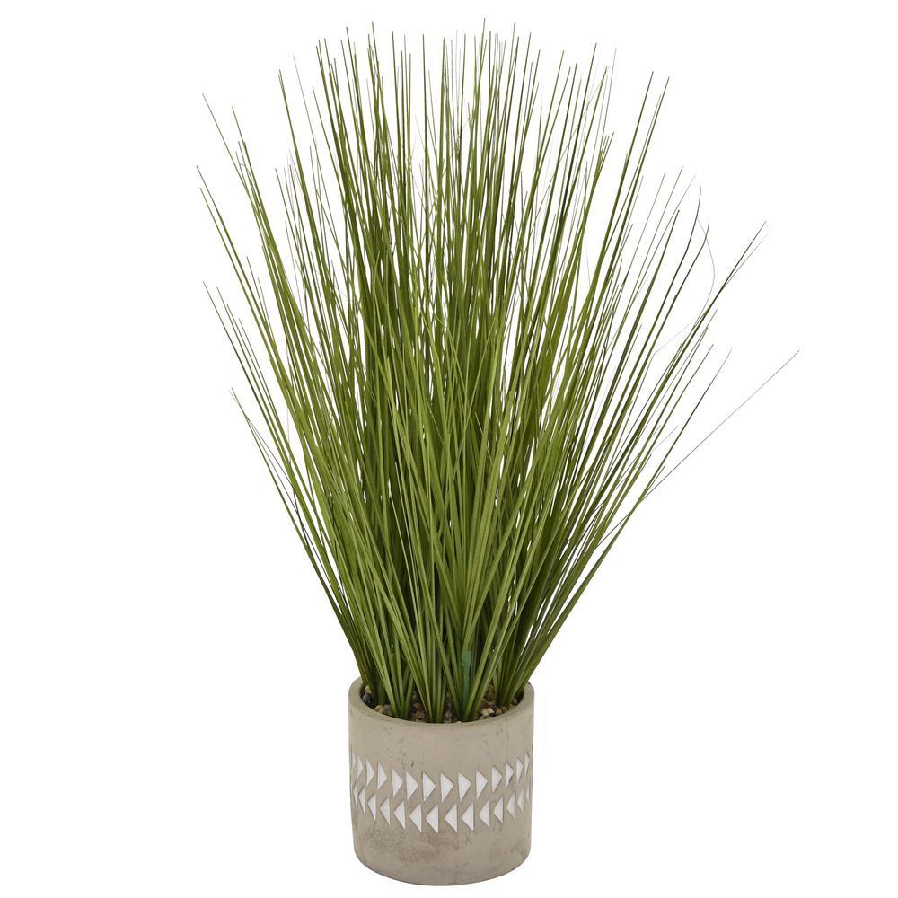 THREE HANDS 21 in. Faux Grass in Flower Pot