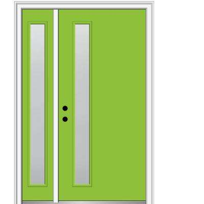 53 in. x 81.75 in. Viola Frosted Glass Right-Hand 1-Lite Modern Painted Fiberglass Smooth Prehung Front Door w/ Sidelite