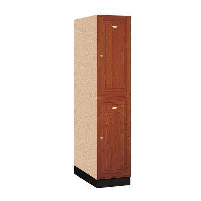 12000 Series 2-Tier Solid Oak Executive Wood Locker in Medium Oak - 16 in. W x 72 in. H x 24 in. D