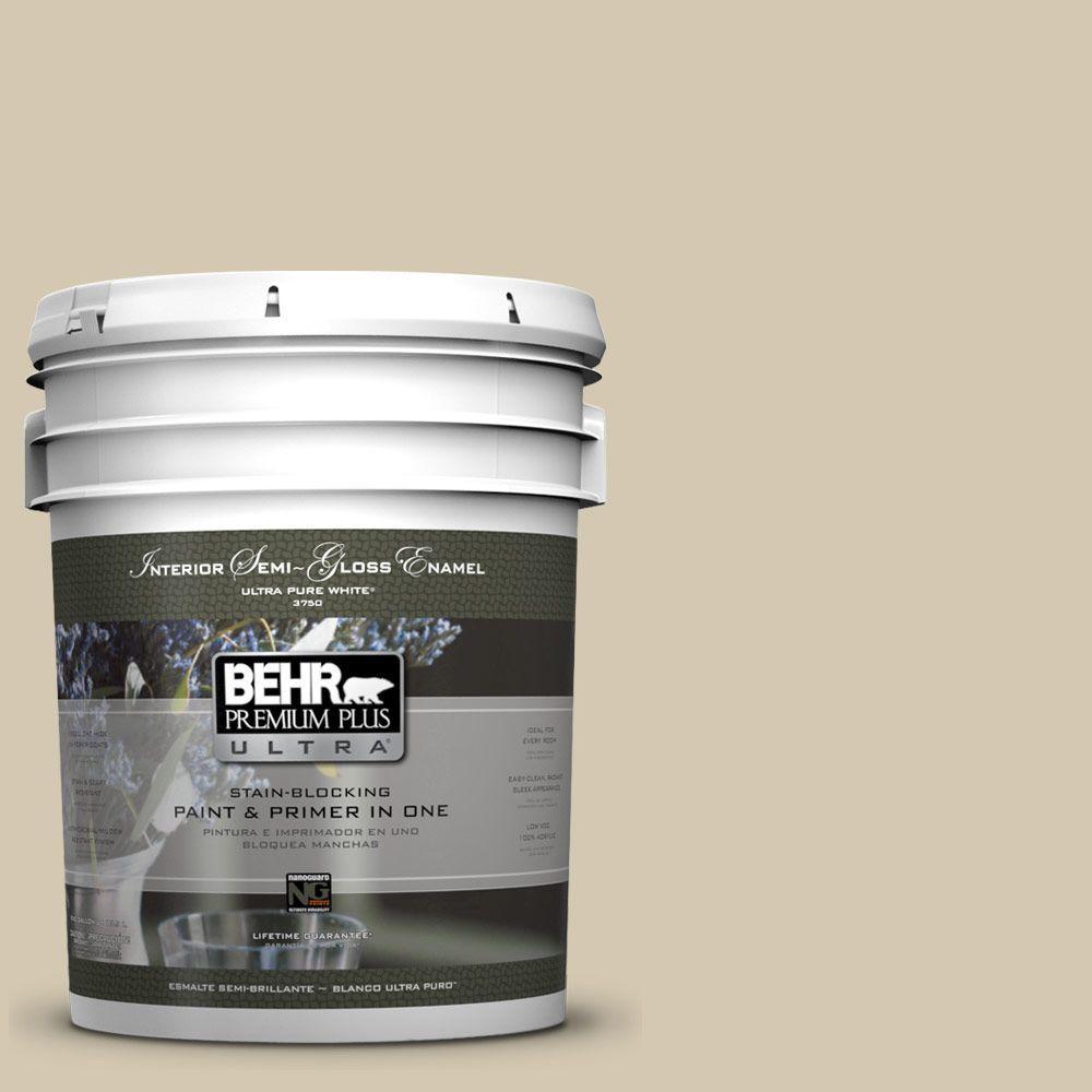 BEHR Premium Plus Ultra 5-gal. #770C-3 Sand Fossil Semi-Gloss Enamel Interior Paint
