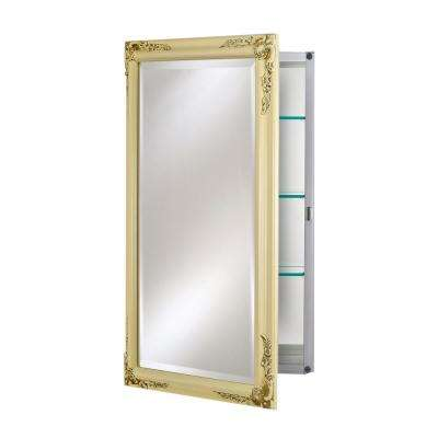 Single Door 24 in. x 30 in. Recessed Medicine Cabinet Basix Plus Antique Biscuit