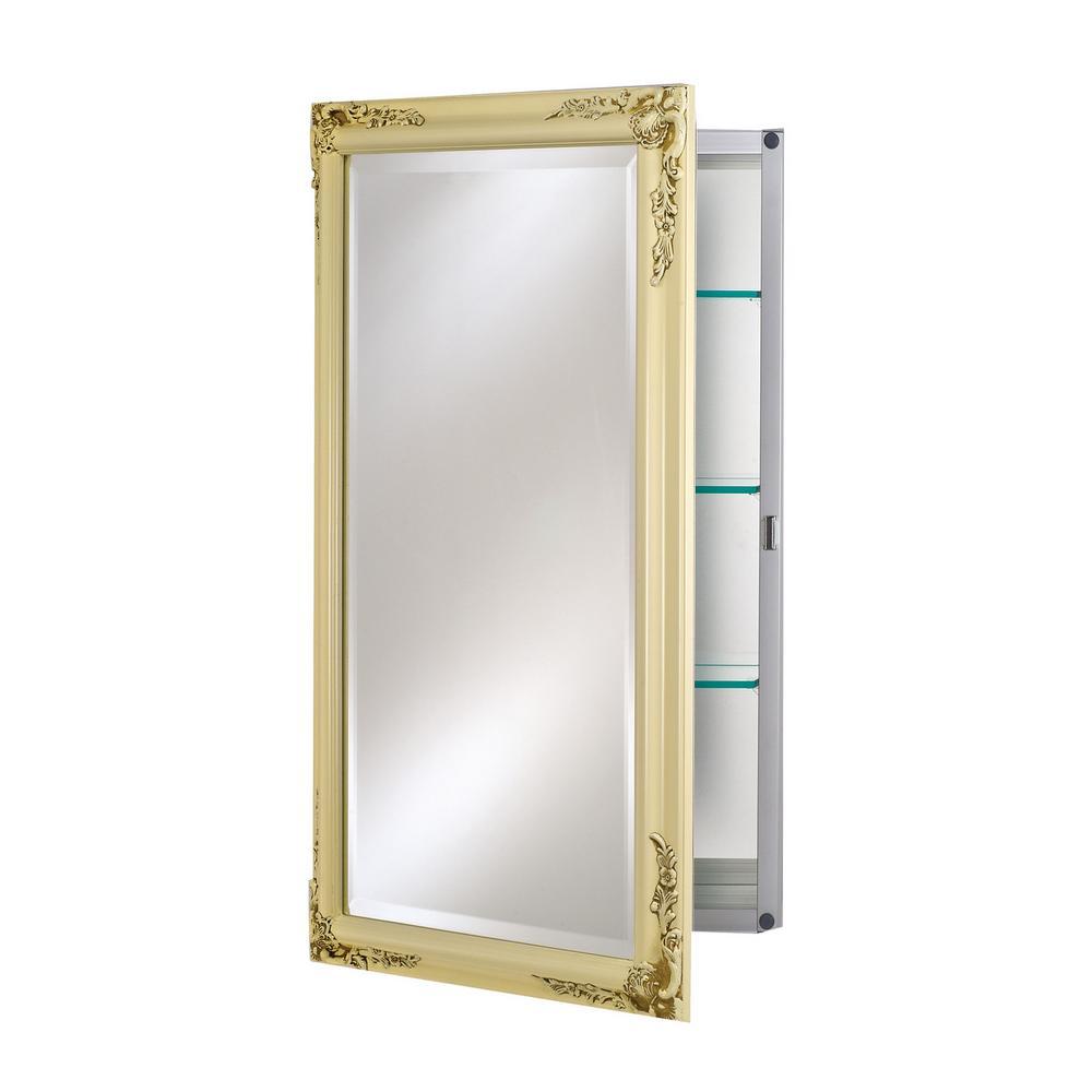 Single Door 16 in. x 26 in. Recessed Medicine Cabinet Basix Plus Antique Biscuit