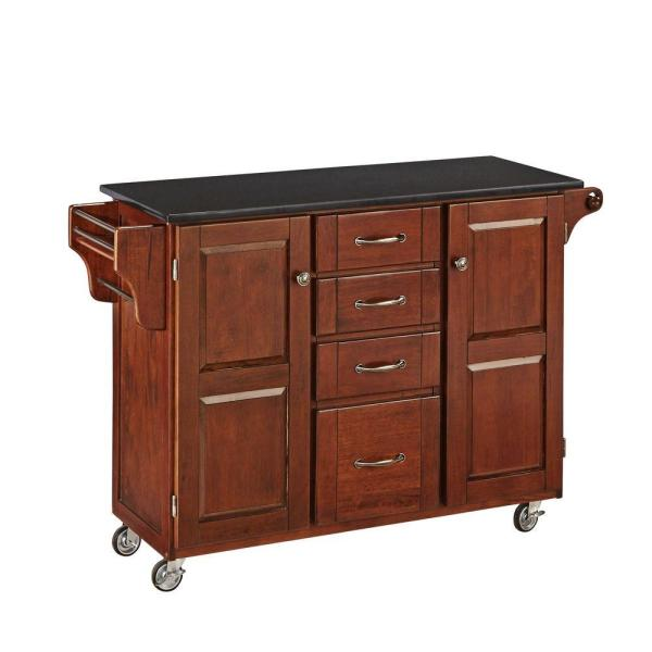 Home Styles Create-a-Cart Cherry Kitchen Cart With Black Granite Top 9100-1074