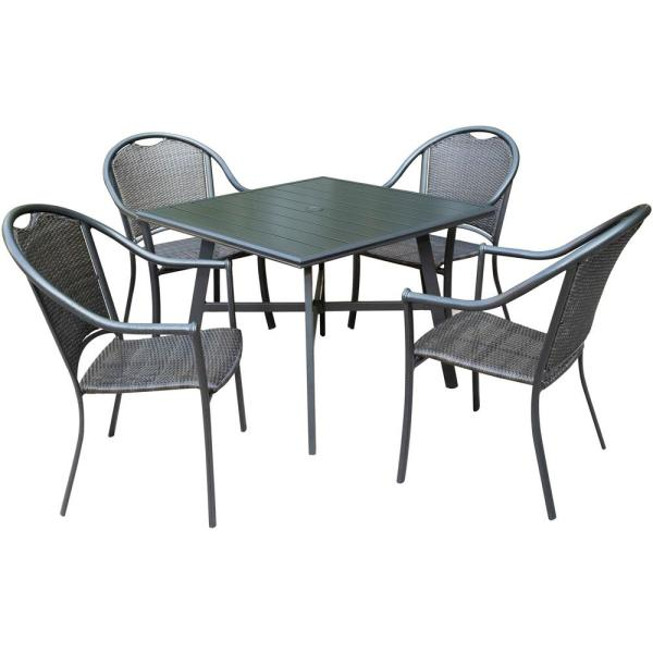 Bambray 5-Piece Commercial-Grade Aluminum Outdoor Dining Set with Slat-Top Dining Table