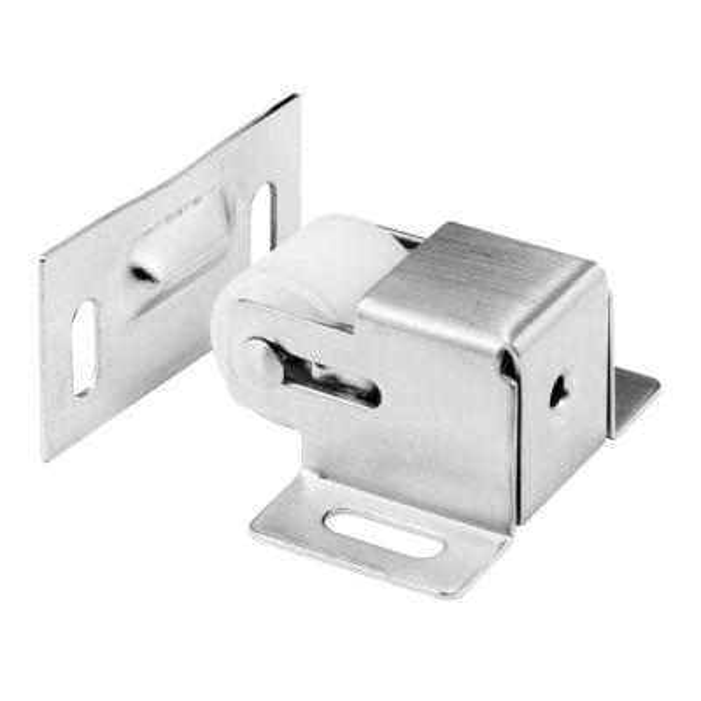 Cabinet Door Roller Catch, Satin Nickel Steel Housing and Strike, spring-loaded
